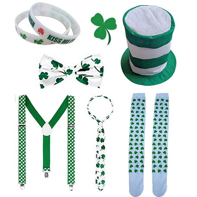 St Patrick's Day Pride Men's Costume Set kiss Me I am Irish Green Velour Party Cosplay
