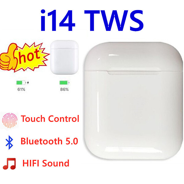 The new i14 TWS Bluetooth headset TWS binaural call V5.0 supports touch i14 Bluetooth automatic pairing