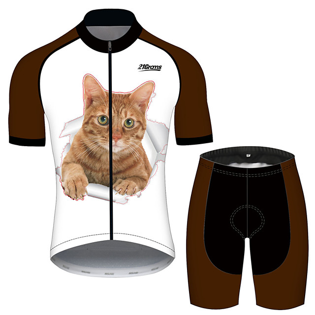 21Grams Women's Short Sleeve Cycling Jersey with Shorts Black / White Cat Animal Bike Clothing Suit Breathable 3D Pad Quick Dry Ultraviolet Resistant Reflective Strips Sports Cat Mountain Bike MTB