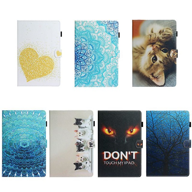 Case For Apple iPad Air / iPad (2018) / iPad 10.2''(2019) Card Holder / with Stand / Flip Full Body Cases Cat / Heart / Flower PU Leather For iPad Pro 10.5/iPad Air 2/iPad 2017