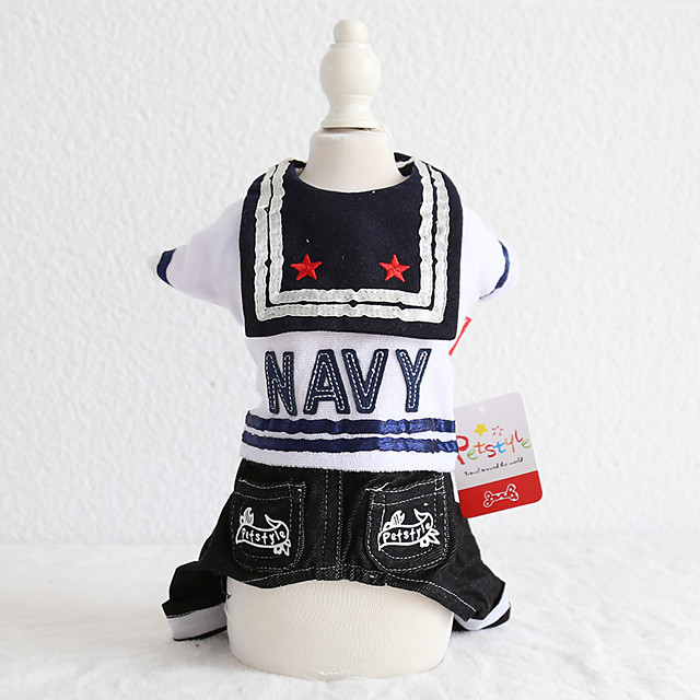 Dog Costume Jumpsuit Dog Clothes Breathable Black Costume Beagle Bichon Frise Chihuahua Jeans Quotes & Sayings Police / Military Jeans Cowboy Cool XS S M L XL