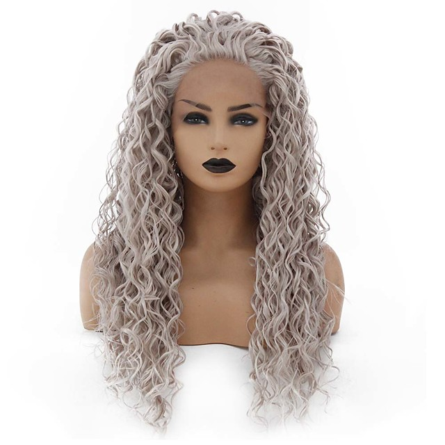 Synthetic Lace Front Wig Curly Minaj Middle Part Lace Front Wig Long Grey Synthetic Hair 22-26 inch Women's Heat Resistant Women Hot Sale Gray / Glueless