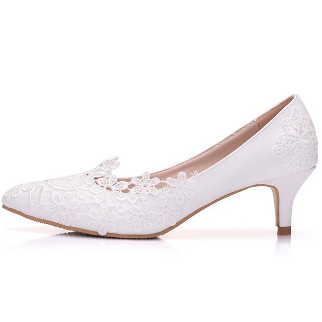 Women's Wedding Shoes Low Heel Pointed Toe PU Spring & Summer White