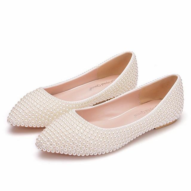 Women's Wedding Shoes Flat Heel Pointed Toe PU Spring & Summer White / Beige