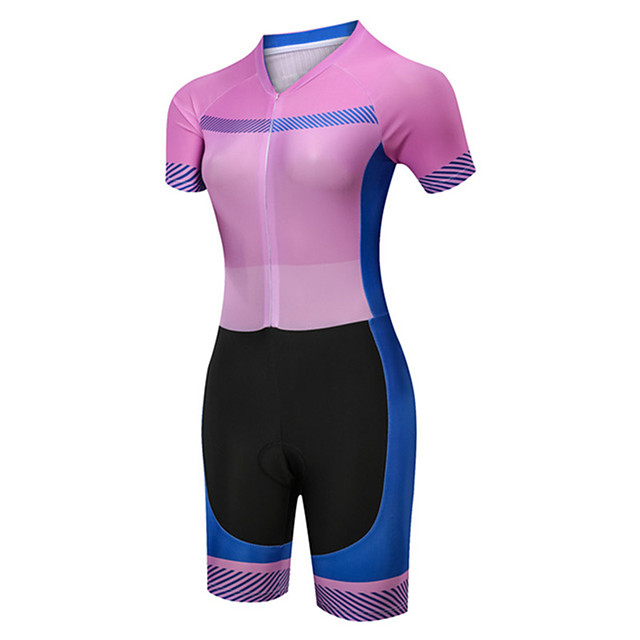 21Grams Women's Short Sleeve Triathlon Tri Suit Polyester Spandex Pink / Black Bike Clothing Suit UV Resistant Breathable Quick Dry Sweat-wicking Sports Solid Color Mountain Bike MTB Road Bike Cycling