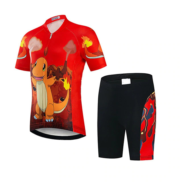 21Grams Girls' Short Sleeve Cycling Jersey with Shorts - Kid's Black / Red Bike Clothing Suit UV Resistant Breathable Quick Dry Sweat-wicking Sports Dinosaur Mountain Bike MTB Road Bike Cycling