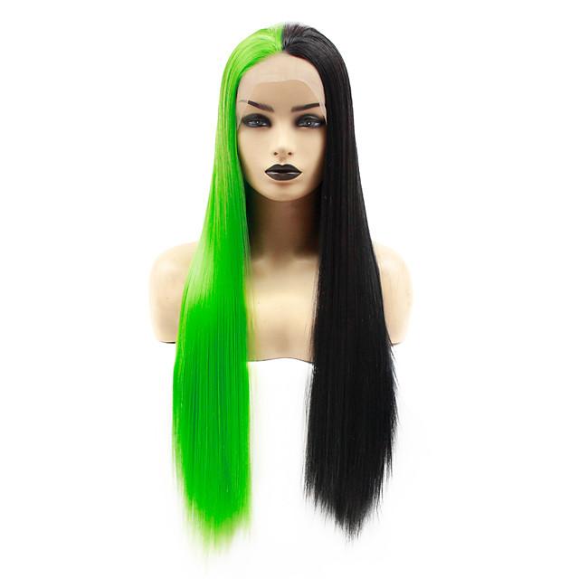Synthetic Lace Front Wig Straight Jenifer Middle Part Lace Front Wig Long Green Synthetic Hair 22-26 inch Women's Heat Resistant Women Hot Sale Black Green / Glueless