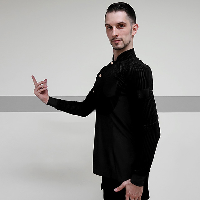 Latin Dance Top Ruching Men's Performance Long Sleeve Spandex