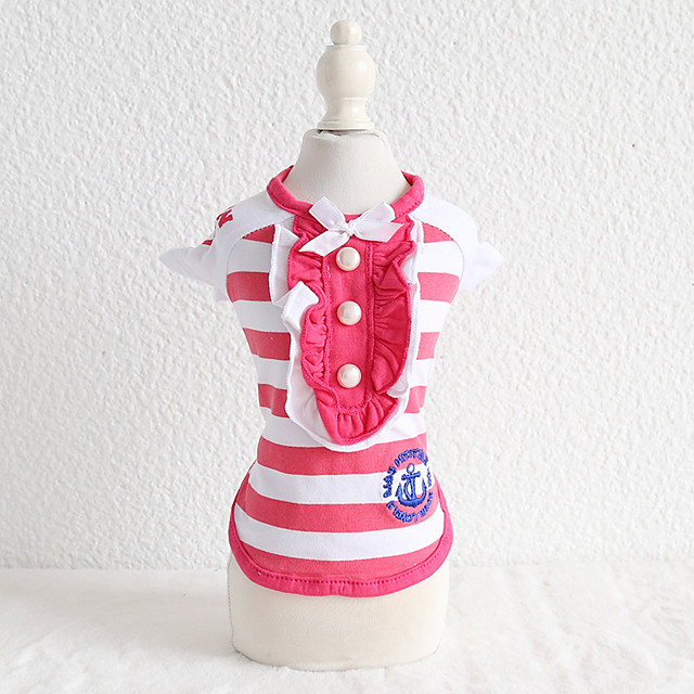 Dog Costume Shirt / T-Shirt Dog Clothes Breathable Fuchsia Blue Costume Beagle Bichon Frise Chihuahua Cotton Stripes Quotes & Sayings Embroidered Casual / Sporty Cool XS S M L XL
