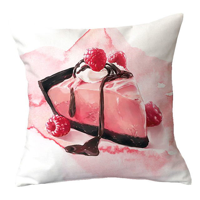 Set of 1 Polyester Pillow Cover Nordic INS Little Fresh Pink Ice Cream Cake Living Room Sofa Pillow Office by a Minimalist Bedside Pillow Cover