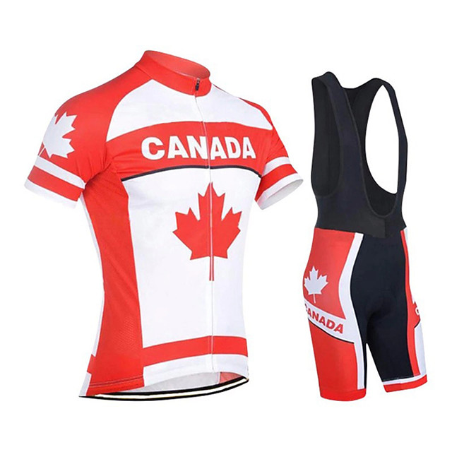 21Grams Men's Short Sleeve Cycling Jersey with Bib Shorts Polyester Spandex Red / White Canada Bike Clothing Suit UV Resistant Breathable 3D Pad Quick Dry Reflective Strips Sports Canada Mountain