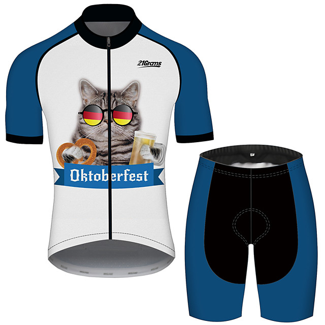 21Grams Men's Short Sleeve Cycling Jersey with Shorts Polyester Spandex Blue / White Cat Animal Oktoberfest Beer Bike Clothing Suit UV Resistant Breathable Quick Dry Sweat-wicking Sports Cat Mountain