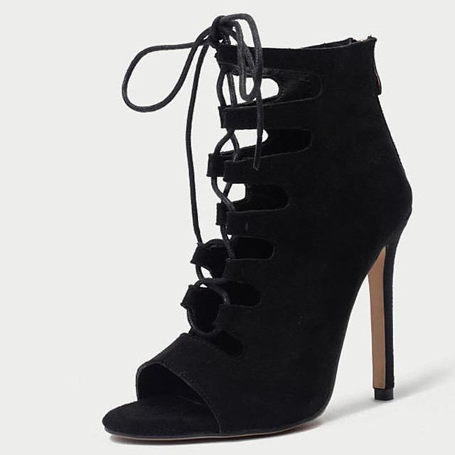 Women's Boots Stiletto Heel Peep Toe Synthetics Booties / Ankle Boots Sweet / British Fall / Spring & Summer Pink / Black / Party & Evening
