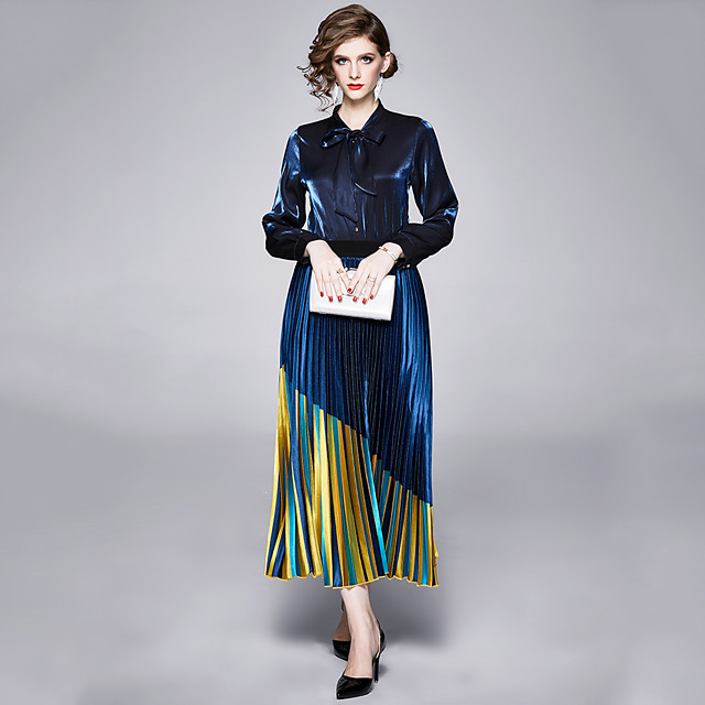 The Great Gatsby Retro Vintage 1950s Elegant Skirt Blouse / Shirt Outfits Women's Costume Blue Vintage Cosplay Work Office & Career Long Sleeve