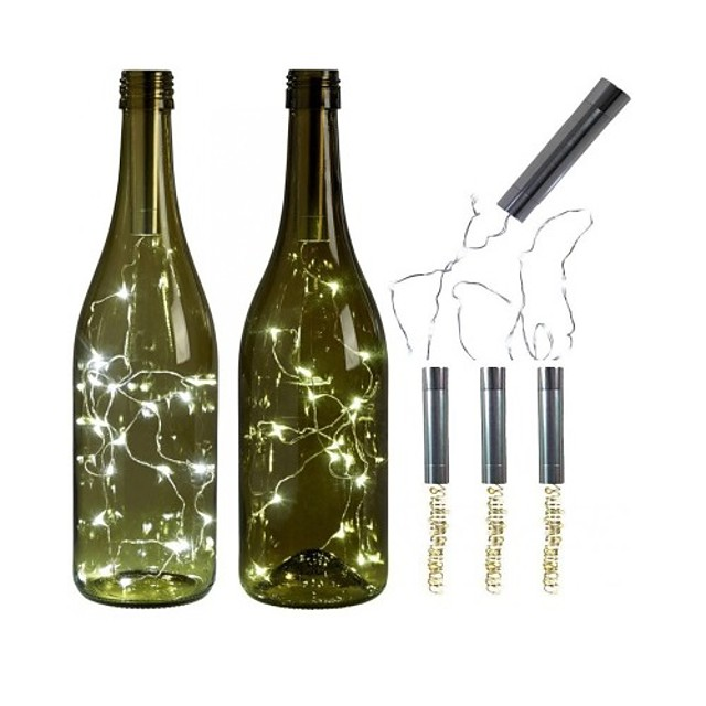 3pcs AA Battery String Lights Silver LED Wine Bottle Lights Battery Powered Cork Shape Glass Bottle Stopper Lamp Christmas Garlands Decor
