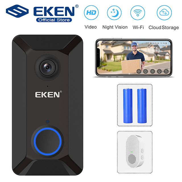 EKEN V6 Smart WiFi Video Doorbell with 1*Chime and 2*18650 Battery