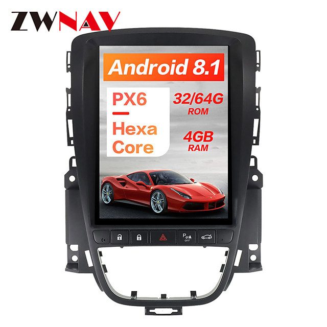 ZWNAV 10.4 inch 1 Din Android 8.1 Tesla style 4GB 64GB Car GPS Navigation Car radio tape recorder In-Dash Car DVD Player Car multimedia player For Buick Hideo 2009-2014