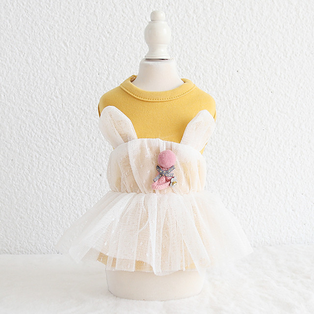 Dog Costume Shirt / T-Shirt Dress Rabbit Bear Dog Clothes Breathable Yellow Pink Wedding Birthday Costume Beagle Bichon Frise Chihuahua Cotton Voiles & Sheers Bear Rabbit / Bunny Stylish Cute XS S M