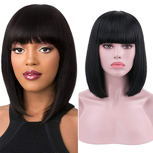 Synthetic Lace Front Wig Straight With Bangs Lace Front Wig Short Natural Black Synthetic Hair 10-16 inch Women's Soft Adjustable Party Black