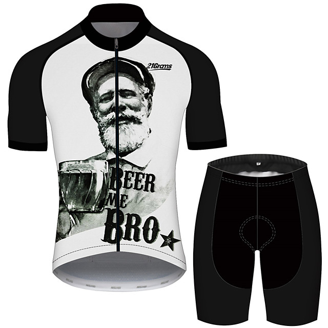 21Grams Men's Short Sleeve Cycling Jersey with Shorts Black / White Oktoberfest Beer Bike UV Resistant Quick Dry Sports Solid Color Mountain Bike MTB Road Bike Cycling Clothing Apparel / Stretchy