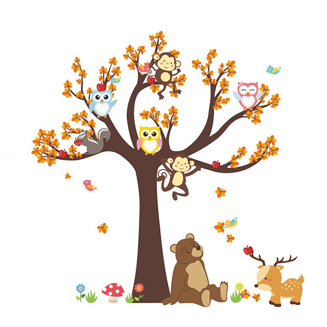 Forest Animals Tree wall stickers for kids room Monkey owl Jungle wild Wall Decal Baby Nursery Bedroom Decor Poster Mural