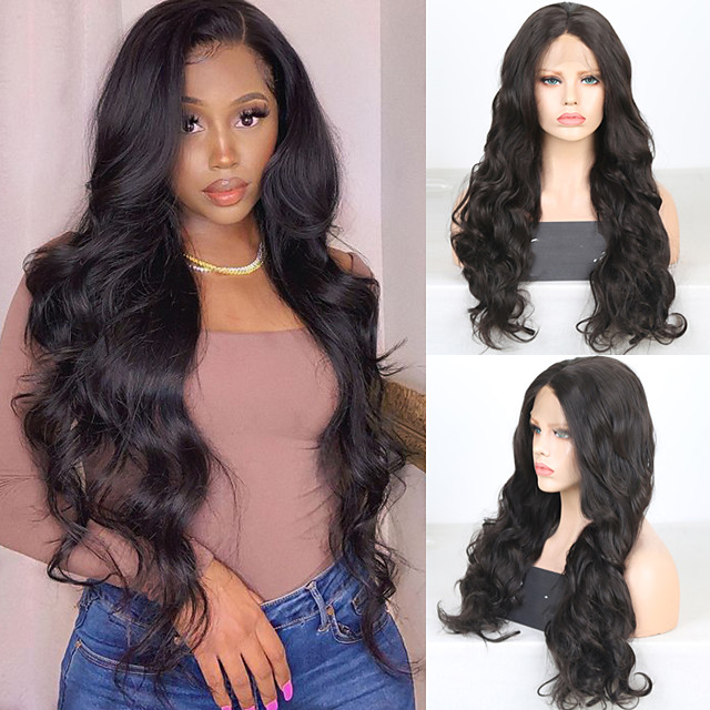 Synthetic Lace Front Wig Wavy Middle Part Lace Front Wig Long Brown Synthetic Hair 18-26 inch Women's Cosplay Soft Adjustable Brown