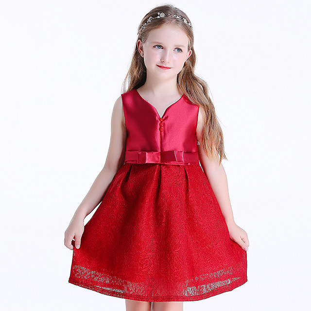 Princess Dress Flower Girl Dress Girls' Movie Cosplay A-Line Slip Cosplay Red Dress Halloween Carnival Masquerade Chiffon Lace Polyester