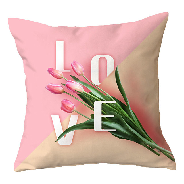 1 pcs Polyester Pillow Cover Nordic Modern Fashion Pink Flower Simple Cushion Cover Living Room Sofa Cushion Pack Office Backrest Pillow Cover