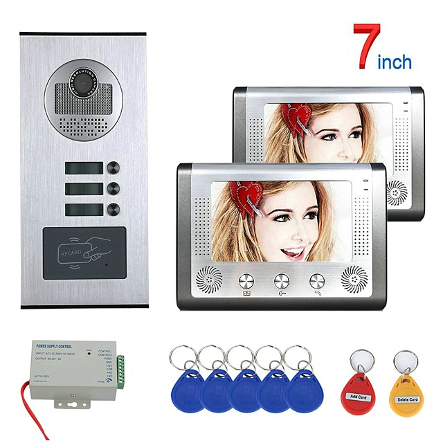 7 Inch 2 Apartment/Family Video Door Phone Intercom System RFID IR-CUT HD 1000TVL Camera Doorbell Camera  Waterproof