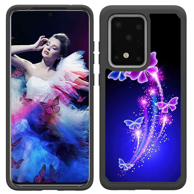 Case For Samsung Galaxy S20 / S20 Plus / S20 Ultra Shockproof / Pattern Back Cover Two Dancing Butterflies TPU / PC for A50(2019) / A40(2019) / A30(2019) / Note 10 Pro