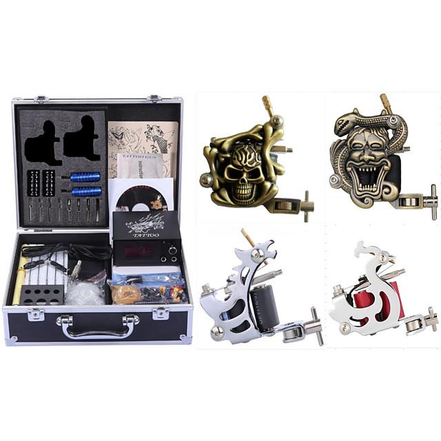 Professional Tattoo Kit Tattoo Machine - 4 pcs Tattoo Machines, High Speed / Dynamics Adjustable / Universal Alloy / Carbon Steel # 2 steel machine liner & shader / 2 carved machine liner & shader