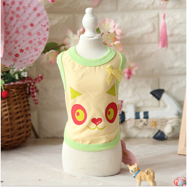 Dog Cat Costume Vest Dog Clothes Breathable Yellow Green Blue Costume Beagle Bichon Frise Chihuahua Cotton Quotes & Sayings Character Bowknot Casual / Sporty Cute XS S M L XL