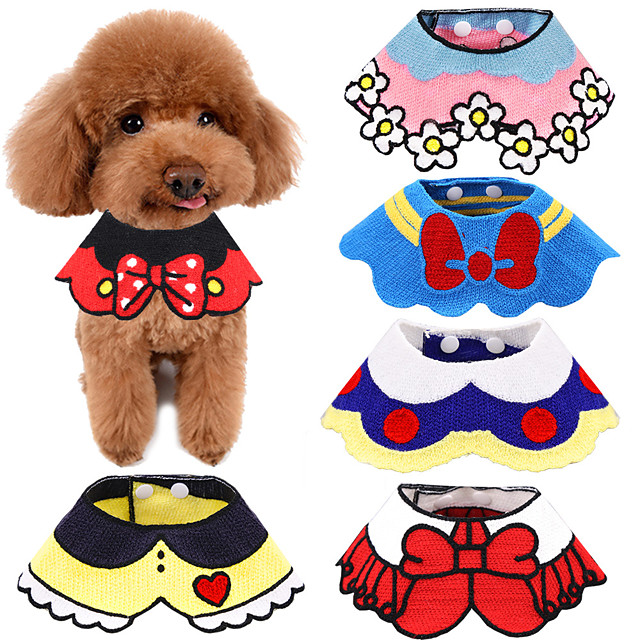 Dog Cat Ornaments Dog Scarf Tie / Bow Tie Dog Clothes Black Yellow Red Costume Husky Labrador Alaskan Malamute Cotton Cartoon Cute M L