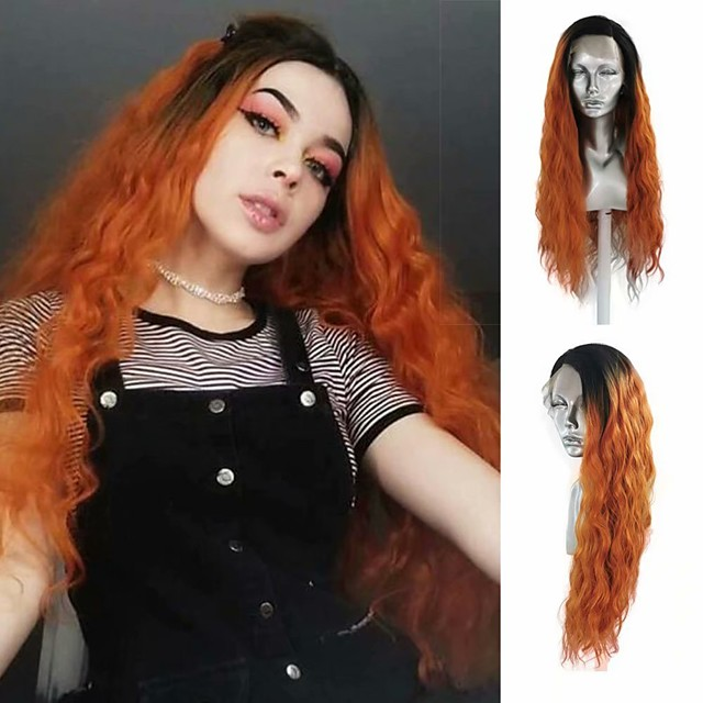Synthetic Lace Front Wig Loose Curl Side Part Lace Front Wig Ombre Long Ombre Orange Synthetic Hair 18-24 inch Women's Heat Resistant Synthetic Easy dressing Ombre / Natural Hairline
