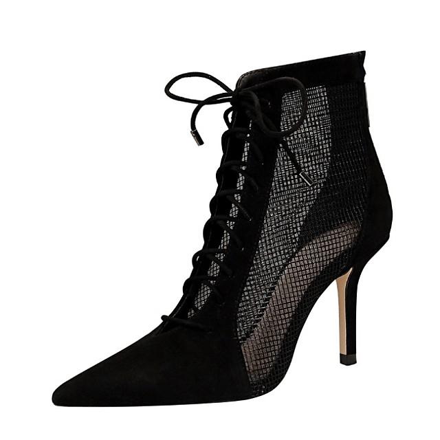 Women's Boots Stiletto Heel Pointed Toe Suede Spring & Summer Black / Khaki