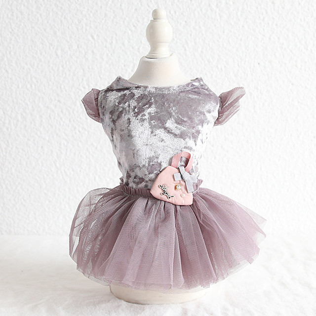 Dog Costume Dress Dog Clothes Breathable Gray Costume Beagle Bichon Frise Chihuahua Cotton Voiles & Sheers Bowknot Pearl Casual / Sporty Cute XS S M L XL