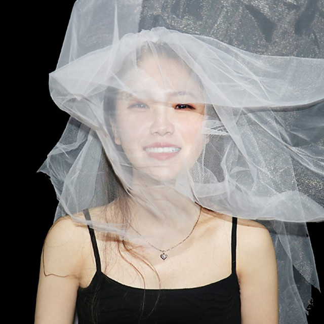 Two-tier Lace Wedding Veil Blusher Veils with Solid 23.62 in (60cm) POLY