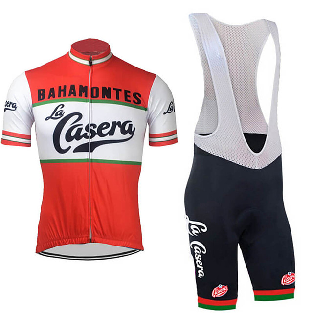 21Grams Men's Short Sleeve Cycling Jersey with Bib Shorts Spandex Polyester Red / White Retro National Flag Bike Clothing Suit UV Resistant Breathable Quick Dry Sports Retro Mountain Bike MTB Road