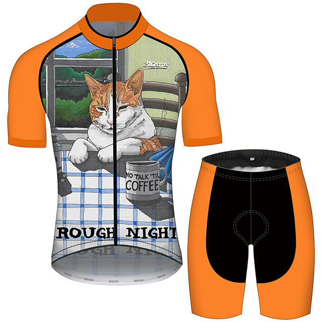 21Grams Men's Short Sleeve Cycling Jersey with Shorts Polyester Spandex Black / Orange Cat Animal Oktoberfest Beer Bike Clothing Suit UV Resistant Breathable Quick Dry Sweat-wicking Sports Cat