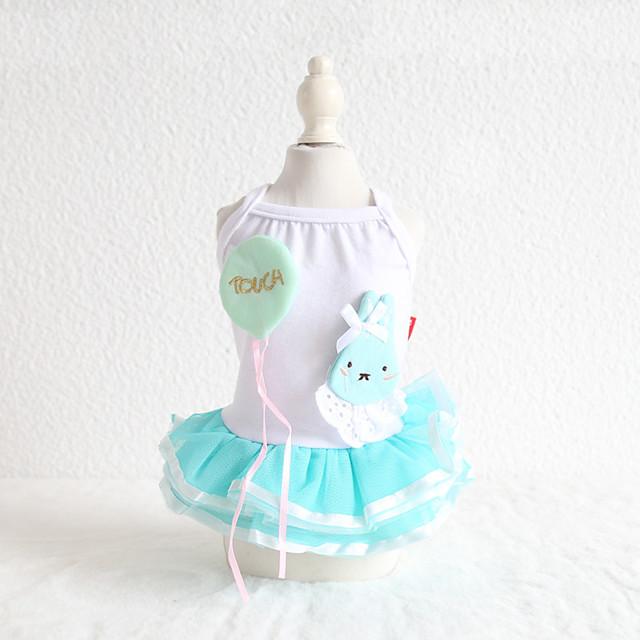 Dog Costume Dress Dog Clothes Breathable Blue Wedding Costume Beagle Bichon Frise Chihuahua Cotton Cartoon Lace Rabbit / Bunny Casual / Sporty Cute XS S M L XL