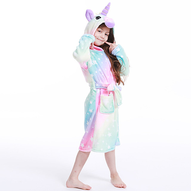 Kid's Kigurumi Pajamas Bathrobe Unicorn Onesie Pajamas Flannelette Purple / Light Purple / Pink Cosplay For Boys and Girls Animal Sleepwear Cartoon Festival / Holiday Costumes