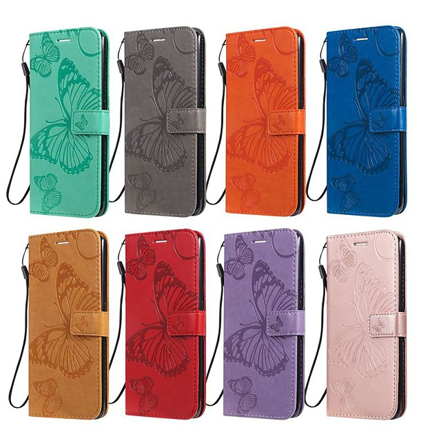 Case For LG LG X Power3 / LG V40 / LG V50 Wallet / Card Holder / with Stand Full Body Cases Butterfly / Solid Colored PU Leather