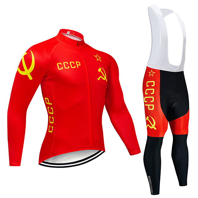 21Grams Men's Long Sleeve Cycling Jersey with Bib Tights Polyester Spandex Red National Flag Bike Clothing Suit UV Resistant Breathable Quick Dry Sports National Flag Mountain Bike MTB Road Bike