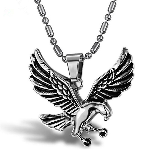 Men's Pendant Necklace Classic Eagle Punk Titanium Steel Silver 55 cm Necklace Jewelry 1 Piece For Holiday Daily Wear