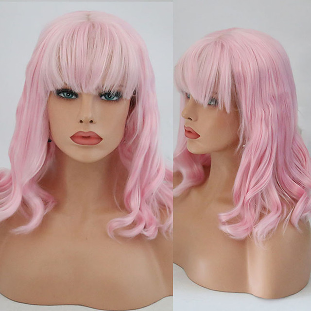 Synthetic Lace Front Wig Wavy With Bangs Lace Front Wig Pink Short Pink Synthetic Hair 10-16 inch Women's Cosplay Soft Adjustable Pink