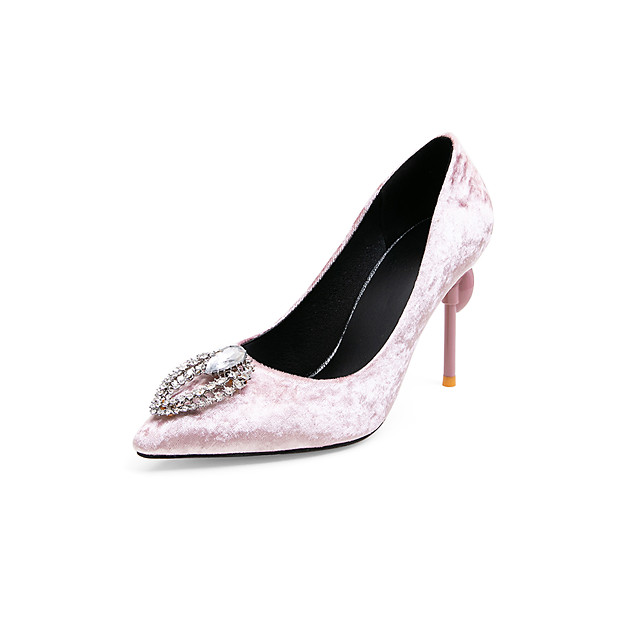 Women's Wedding Shoes Stiletto Heel Pointed Toe Rhinestone Suede Business / Classic Spring & Summer Black / Red / Pink / Party & Evening