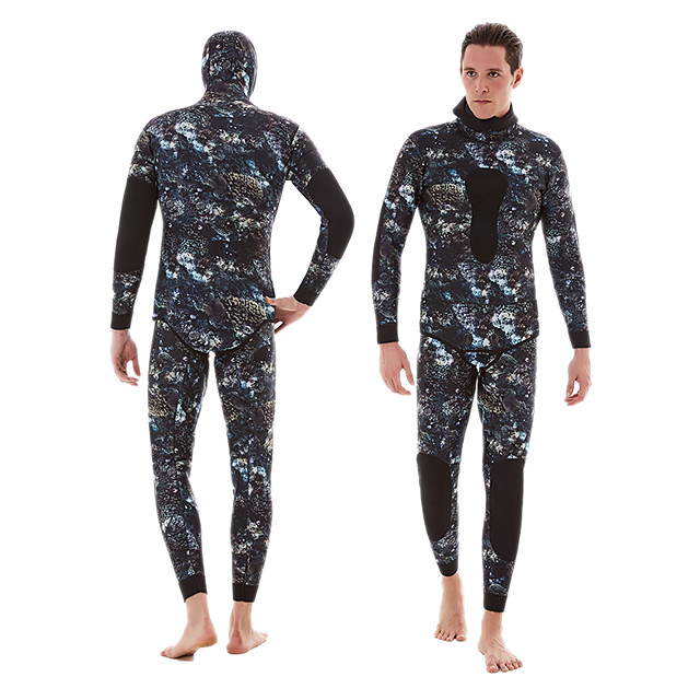 DIVESTAR Men's Full Wetsuit 3mm SCR Neoprene Diving Suit Thermal / Warm Quick Dry Stretchy Long Sleeve 2-Piece - Diving Water Sports Camo / Camouflage Autumn / Fall Spring Summer / High Elasticity