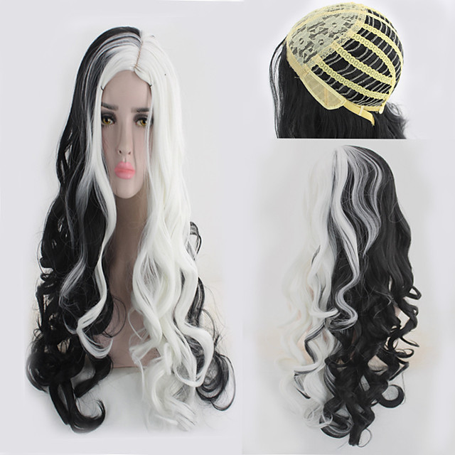 Synthetic Wig Curly kinky Straight Asymmetrical Wig Long Black / White Synthetic Hair 27 inch Women's Best Quality Black White