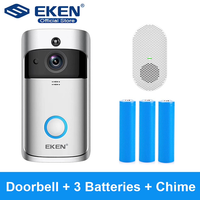EKEN V5 Smart WiFi Video Doorbell With 3*18650 Battery and 1*Chime