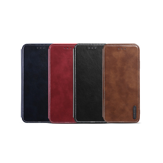 Case For Apple iPhone XS / iPhone XR / iPhone XS Max Card Holder / Shockproof / Flip Full Body Cases Solid Colored PU Leather